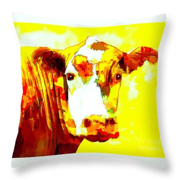 Yellow Cow Throw Pillow