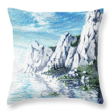 Ivory Cliffs Throw Pillow by Nils Bifano