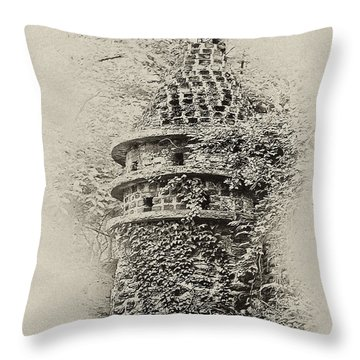 Ivy Covered Castle In The Woods Throw Pillow by Bill Cannon