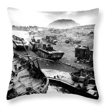 Iwo Jima Beach Throw Pillow