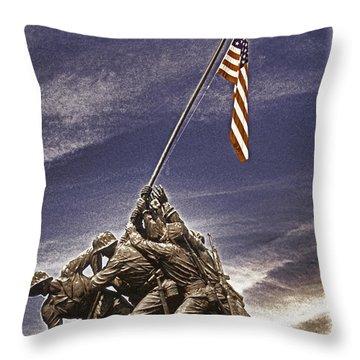 Iwo Jima Flag Raising Throw Pillow by Dennis Cox
