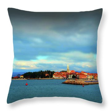 Izola From The Marina Throw Pillow by Graham Hawcroft pixsellpix
