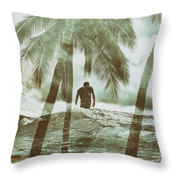 Izzy Jive And Palms Throw Pillow