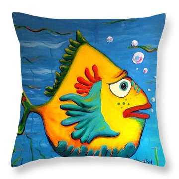 Izzy On The Itch Throw Pillow by Vickie Scarlett-Fisher