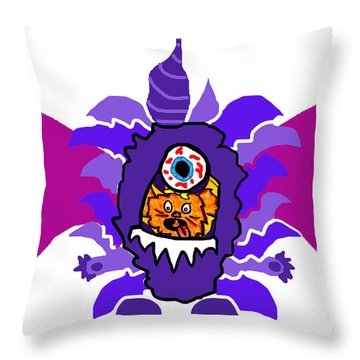 Izzy Purple People Eater Costume Throw Pillow by Jera Sky
