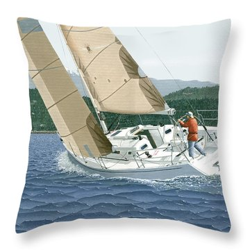 J-109 Sailboat Off Comox B.c. Throw Pillow