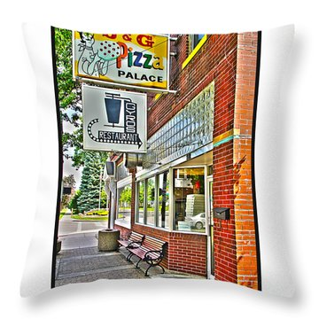 J And G Pizza Palace Throw Pillow