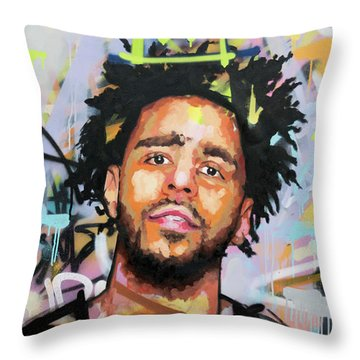 J Cole Throw Pillow by Richard Day