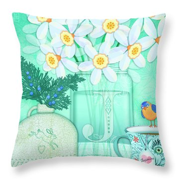 J Is For Jar Of Jonquils Throw Pillow