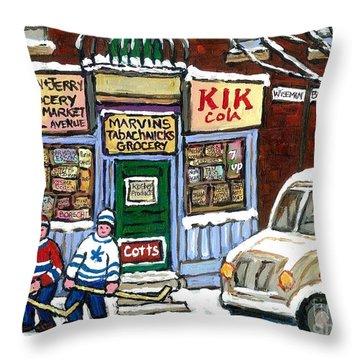 J J Joubert Vintage Milk Truck At Marvin's Grocery Montreal Memories Street Hockey Best Hockey Art Throw Pillow
