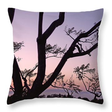 Jacaranda Silhouette Throw Pillow by Rona Black