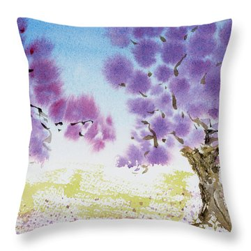 Jacaranda Trees Blooming In Buenos Aires, Argentina Throw Pillow