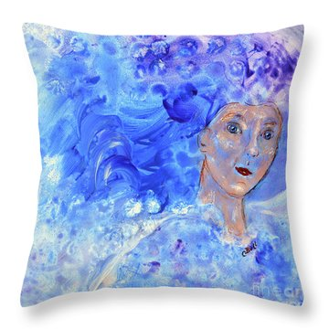 Throw Pillow featuring the painting Jack Frost's Girl by Claire Bull