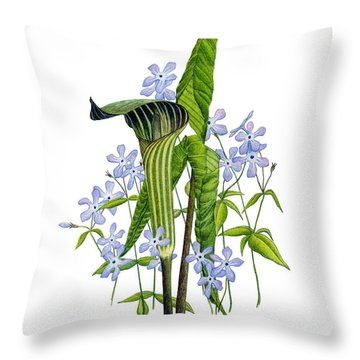Jack-in-the-pulpit With Wild Sweet Williams Throw Pillow