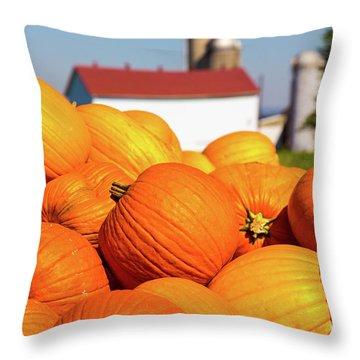 Jack-o-lantern Pumpkins At Farm Throw Pillow