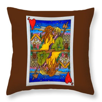 Throw Pillow featuring the painting Jack Of Hearts by Matt Konar