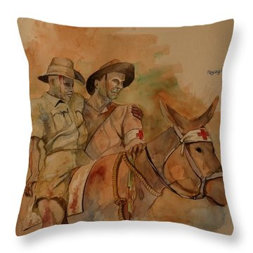 Throw Pillow featuring the painting Jack Simpson And Duffy by Ray Agius