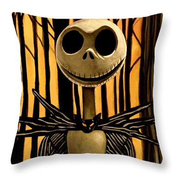 Jack Skelington Throw Pillow by Tom Carlton
