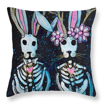 Throw Pillow featuring the painting Jackalope Love by Laurie Maves ART