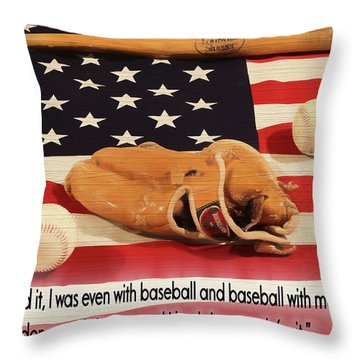 Jackie Robinson Baseball Quote Throw Pillow by Dan Sproul