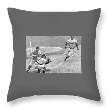 Jackie Robinson Stealing Home Yogi Berra Catcher In 1st Game 1955 World Series Throw Pillow