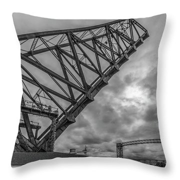 Jackknife Bridge To The Clouds B And W Throw Pillow
