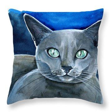 Jackpot - Russian Blue Cat Painting Throw Pillow