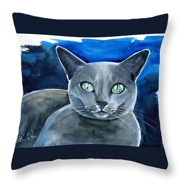 Jackpot - Russian Blue Cat Painting Throw Pillow