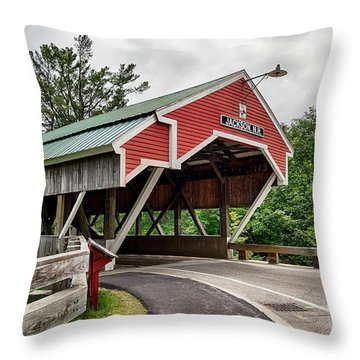 Jackson Covered Bridge Throw Pillow by Betty Denise