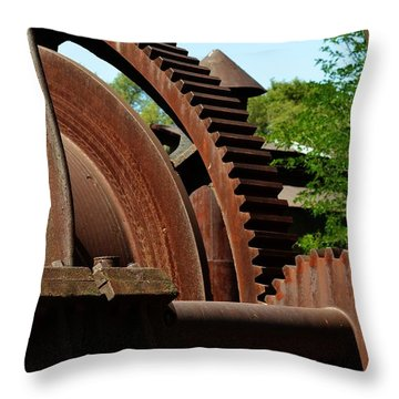 Jackson Gears 2 Throw Pillow by Nancy Manning