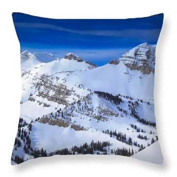Jackson Hole, Wyoming Winter Throw Pillow