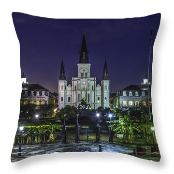 Jackson Square And St. Louis Cathedral At Dawn, New Orleans, Louisiana Throw Pillow