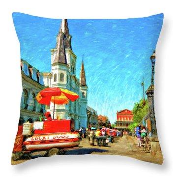 Jackson Square Oil Throw Pillow by Steve Harrington