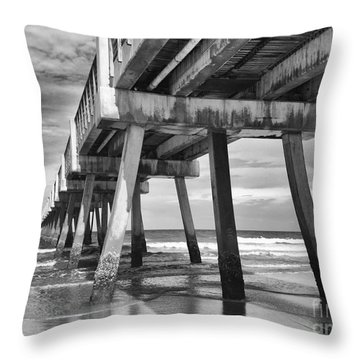 Jacksonville Beach Florida Usa Pier Throw Pillow by Vizual Studio
