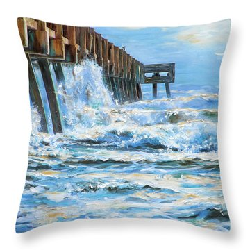 Jacksonville Beach Pier Throw Pillow