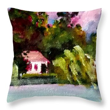 Throw Pillow featuring the painting Jacksonville Nc Waterfront by Jim Phillips