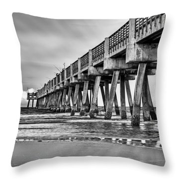 Jacksonville Beach Pier In Black And White Throw Pillow