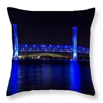 Jacksonville's Blue Bridge Throw Pillow