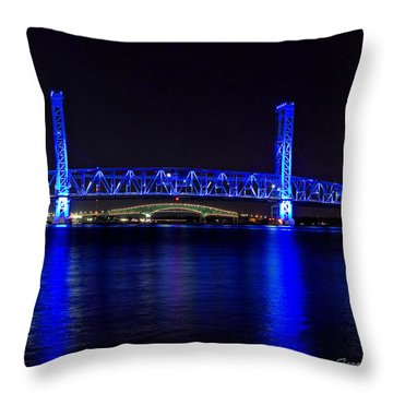 Jacksonville's Blue Bridge Throw Pillow