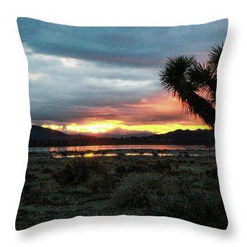 Jacob Tree Sunset - El Mirage Throw Pillow