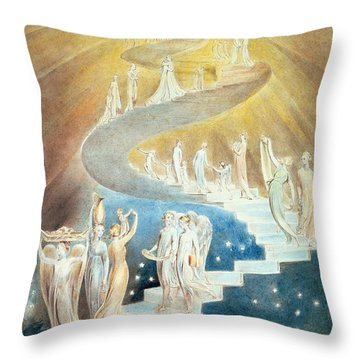 Jacobs Ladder Throw Pillow by William Blake