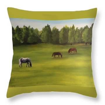 Jacob's Pasture Throw Pillow by Ellen Canfield