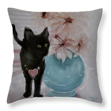 Jacobs's Cat Throw Pillow by Julie Todd-Cundiff