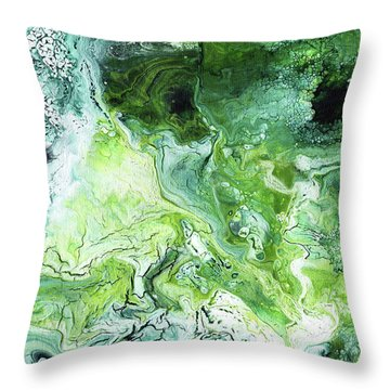 Jade- Abstract Art By Linda Woods Throw Pillow