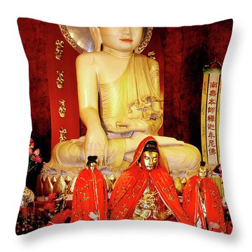 Jade Buddha Jing'an Temple Shanghai Throw Pillow by Christine Till