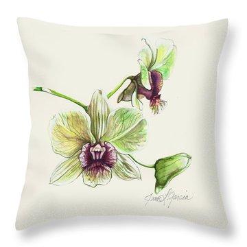 Jade Dendrobium Throw Pillow