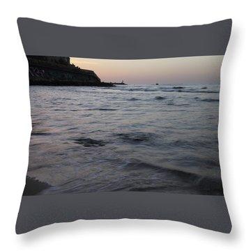 Jaffa Port Throw Pillow by Shlomo Zangilevitch
