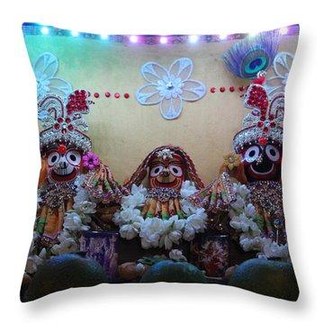 Jagannath, Baladev And Subhadra At Govinda's, Mumbai Throw Pillow by Jennifer Mazzucco