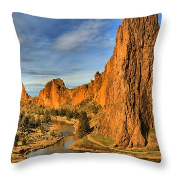 Jagged Peaks Over The Crooked River Throw Pillow