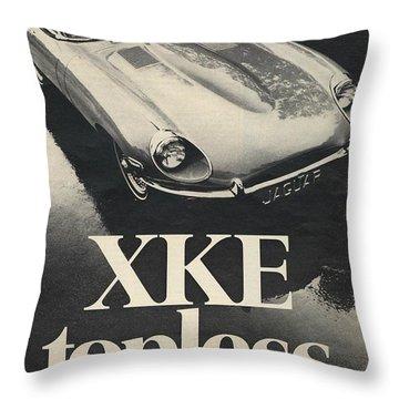 Jaguar Automobile Xke Topless Advert Throw Pillow